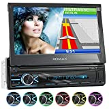 XOMAX XM-VN745 Autoradio mit Mirrorlink I GPS Navigation I Bluetooth I 7' / 18 cm Touchscreen Bildschirm I RDS, USB, AUX I Anschlüsse für Rückfahrkamera und Lenkradfernbedienung I 1 DIN