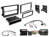 Autoradio Einbauset geeignet für VW Passat inkl. Lenkrad Fernbedienung Adapter & Doppel-DIN Blende in Schwarz