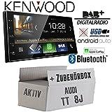 Autoradio Radio Kenwood DMX7018DABS - | Bluetooth | DAB+ Digitalradio | AndroidAuto | Apple CarPlay | Zubehör - Einbauset für Audi TT 8J Aktiv - JUST SOUND best choice for caraudio