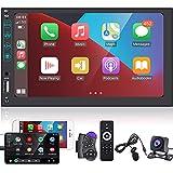 Doppel-Din-Autoradio Apple CarPlay&Android Auto-7-Zoll-Touchscreen-Auto-Multimedia-Player - Spiegelverbindung, Bluetooth, USB, Aux-In, UKW-Radio mit AHD-Rückfahrkamera und Mikrofon
