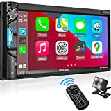 Double Din Stereo Apple Carplay: in-Dash Car Multimedia Player with Bluetooth, Phone Link, HD Touchscreen Monitor, Rearview Cam, A/V Input, FM/AM Car Radio, Steering Wheel