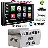 Autoradio Radio Pioneer SPH-DA230DAB Bluetooth DAB+ USB Apple CarPlay - AndroidAuto Einbauzubehör - Einbauset für Audi A3 8P 2- JUST SOUND best choice for caraudio