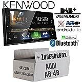 Autoradio Radio Kenwood DMX7018DABS - | Bluetooth | DAB+ Digitalradio | AndroidAuto | Apple CarPlay | Zubehör - Einbauset für Audi A6 4b ab 2001 2- JUST SOUND best choice for caraudio