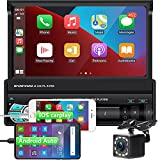 1DIN Autoradio Bluetooth mit Carplay und Android Auto, 7 Zoll Touchscreen MP5 Player Radio mit Rückfahrkamera + Lenkradsteuerung, Autostereo Unterstützung Mirror Link/FM Radio/TF/USB/AUX