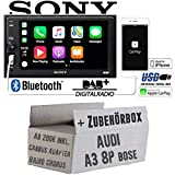 Autoradio Radio mit XAV-AX1005DB - 2DIN Bluetooth | DAB+ | Apple CarPlay | USB - Einbauzubehör - Einbauset für Audi A3 8P inkl. CanBus Lenkradfernbedienung und Bose Radiotausch
