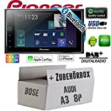 Autoradio Radio Pioneer SPH-DA130DAB - 2-DIN Bluetooth | DAB+ | USB | Apple CarPlay Einbauzubehör - Einbauset für Audi A3 8P 2- JUST SOUND best choice for caraudio