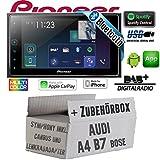 Autoradio Radio Pioneer SPH-DA130DAB-2-DIN Bluetooth DAB+ USB Apple CarPlay - Einbauset für Audi A4 B7 Lenkradfernbedienung Symphony Bose 2DIN- JUST SOUND best choice for caraudio