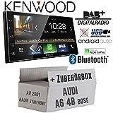 Autoradio Radio Kenwood DMX7018DABS - | Bluetooth | DAB+ Digitalradio | AndroidAuto | Apple CarPlay | Zubehör - Einbauset für Audi A6 4b ab 2001 Bose 2- JUST SOUND best choice for caraudio
