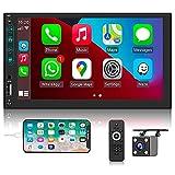 Hikity Autoradio Bluetooth 2 Din Carplay 7 Zoll Bildschirm Autoradio mit Freisprecheinrichtung Android Auto Car Radio Touchscreen FM Empfänger SWC/FM/USB/Mirror Link + Rückfahrkamera