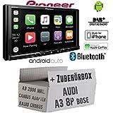 Autoradio Radio Pioneer SPH-DA230DAB Bluetooth DAB+ USB Apple CarPlay-AndroidAuto - Einbauset für Audi A3 8P Lenkradfernbedienung Bose- JUST SOUND best choice for caraudio