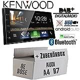 Autoradio Radio Kenwood DMX7018DABS - | Bluetooth | DAB+ Digitalradio | AndroidAuto | Apple CarPlay | Zubehör - Einbauset für Audi A4 B7 Symphony Bose - JUST SOUND best choice for caraudio