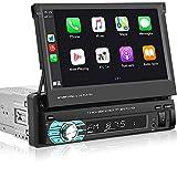 1 Din Autoradio Mit Apple Carplay Android Auto Hikity 7 Zoll Einziehbarer ausklappbarer Touchscreen Bluetooth Audiosystem FM Empfänger Telefonverbindung + Rückfahrkamera