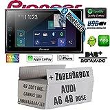 Autoradio Radio Pioneer SPH-DA130DAB-2-DIN Bluetooth DAB+ USB Apple CarPlay - Einbauset für Audi A6 4b ab 2001 Bose Lenkradfernbedienung 2- JUST SOUND best choice for caraudio