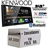 Autoradio Radio kompatibel mit Kenwood DMX7018DABS - | Bluetooth | DAB+ Digitalradio | AndroidAuto | Apple CarPlay | Zubehör - Einbauset für VW Polo 6R - JUST SOUND best choice for caraudio