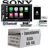 Autoradio Radio mit XAV-AX1005DB - 2DIN Bluetooth | DAB+ | Apple CarPlay | USB - Einbauzubehör - Einbauset für Audi A6 4b ab 2001 CanBus und Lenkradfernbedienung 2 Radiotausch