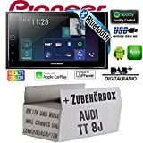 Autoradio Radio Pioneer SPH-DA130DAB-2-DIN Bluetooth DAB+ USB Apple CarPlay - Einbauset für Audi TT 8J Lenkradfernbedienung 2DIN Aktiv Bose- JUST SOUND best choice for caraudio