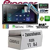 Autoradio Radio Pioneer SPH-DA130DAB - 2-DIN Bluetooth | DAB+ | USB | Apple CarPlay Einbauzubehör - Einbauset für Audi TT 8J Chorus - JUST SOUND best choice for caraudio