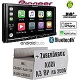 Autoradio Radio Pioneer SPH-DA230DAB Bluetooth DAB+ USB Apple CarPlay - AndroidAuto Einbauzubehör - Einbauset für Audi A3 8P inkl. CanBus, Radio Chorus - JUST SOUND best choice for caraudio