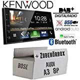 Autoradio Radio Kenwood DMX7018DABS - | Bluetooth | DAB+ Digitalradio | AndroidAuto | Apple CarPlay | Zubehör - Einbauset für Audi A3 8P 2- JUST SOUND best choice for caraudio