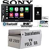 Autoradio Radio mit XAV-AX1005DB - 2DIN Bluetooth | DAB+ | Apple CarPlay | USB - Einbauzubehör - Einbauset für VW Polo 6R Radiotausch