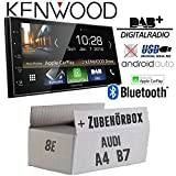 Autoradio Radio Kenwood DMX7018DABS - | Bluetooth | DAB+ Digitalradio | AndroidAuto | Apple CarPlay | Zubehör - Einbauset für Audi A4 B7 Concert - JUST SOUND best choice for caraudio